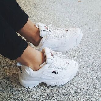shoes white shoes fila sneakers fila white sneakers