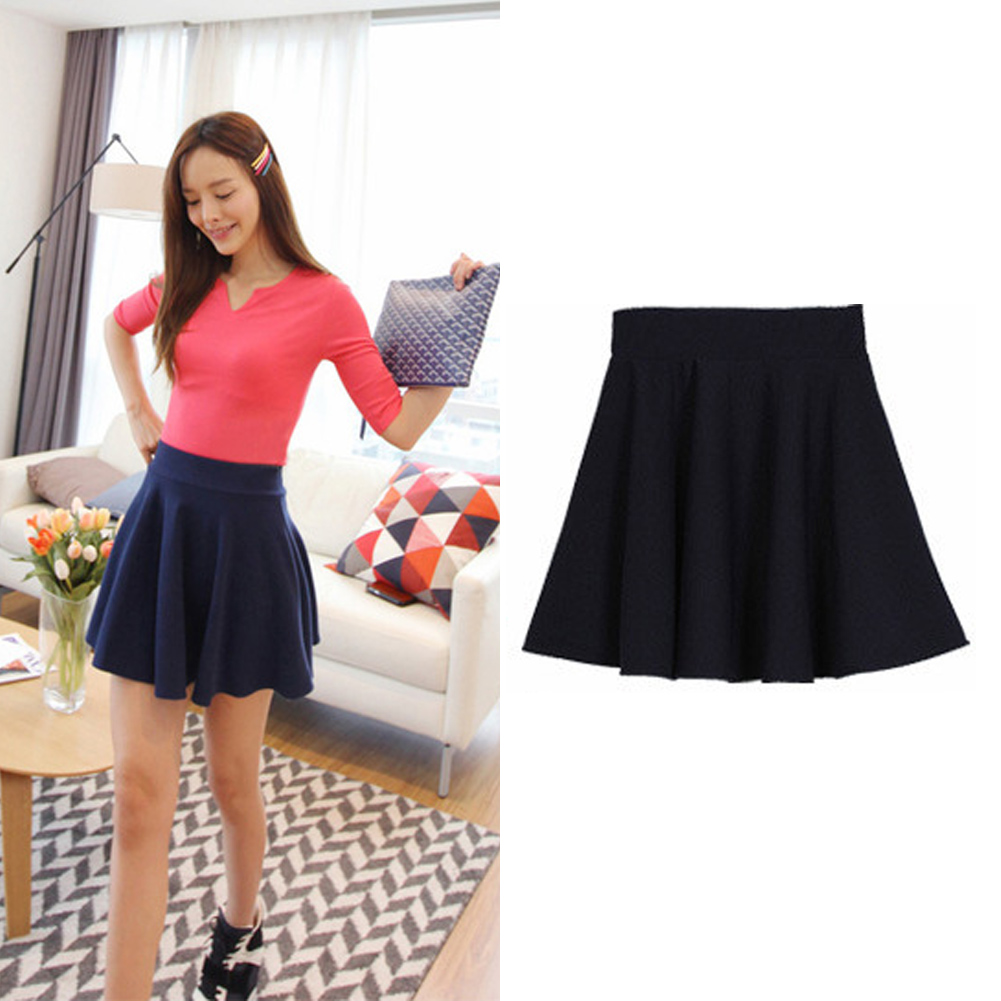 High Waist Short Plain Flared Pleated Sheer Skater Mini Skirts | eBay