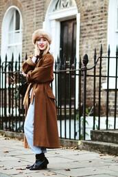 framboise fashion,blogger,jeans,winter outfits,rust,long coat,chelsea boots,winter coat,hat,fur hat,coat,sweater,bag,camel long coat