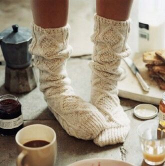 shoes sock socks knit knitted socks warm fluffy cute hipster white off-white cozy bohemian holiday season underwear knitwear clothes