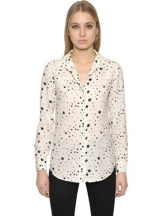 shirt silk stars white black top