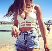 tank top,crop tops,girl,top,shorts,sun,beach,white,jeans,mini shorts,sexy,fashion,summer outfits,denim shorts,shirt