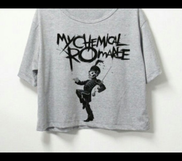 shirt my chemical romance grey t-shirt crop tops