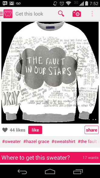 sweater sweatshirt hazel grace the fault in our stars john green