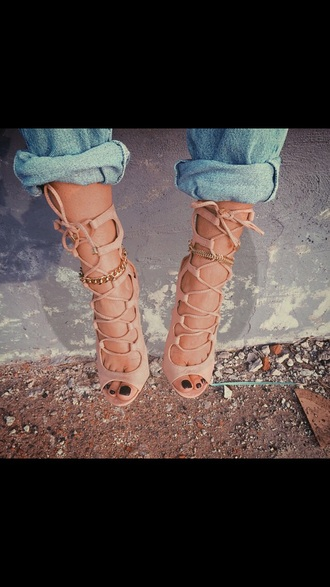 shoes nude shoes lace up pink nude