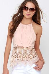 top,halter neck,lace,rose pink,lace halter,lace halter top,pink,rose pink top,blushingambition,tank top,open back