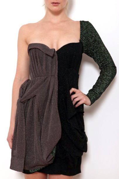 Coven dress bustier dress metallic black green grey
