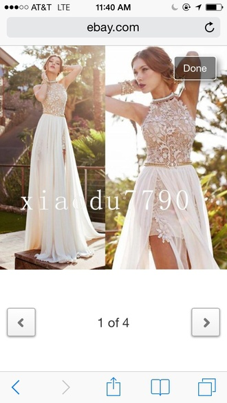 dress lace prom dress high low white chiffon beaded