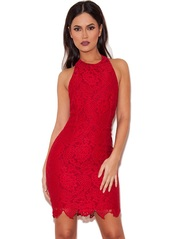 dress,red dress,lace halter dress