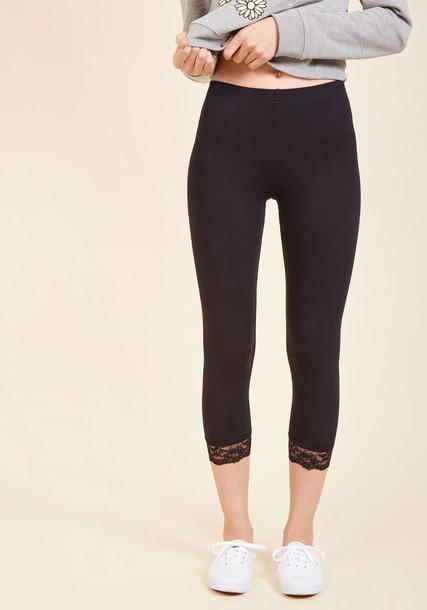 leggings black leggings sweet flawless lace black pants