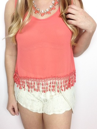 top coral fringed top tank top crop tops jewels necklace shorts