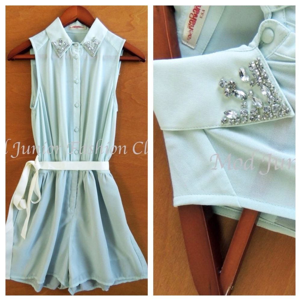 Solid Mint Pointy Jeweled Collar Sleeveless Classic Sexy Short Romper | eBay