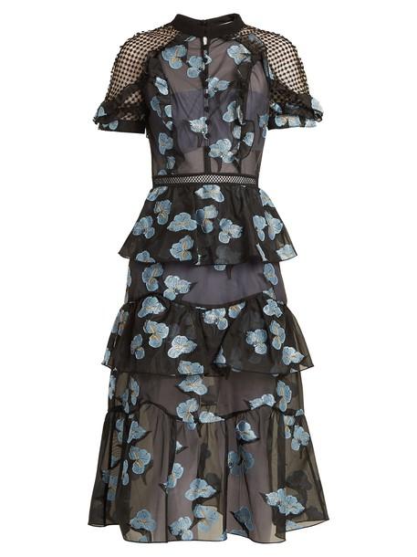 self-portrait dress midi dress back open midi floral blue