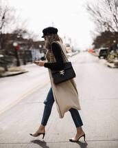 coat,vest,jeans,ripped jeans,black boots,cap,mules,shoulder bag,wool