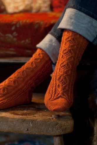 socks rust thigh orange knit knitted socks fall outfits