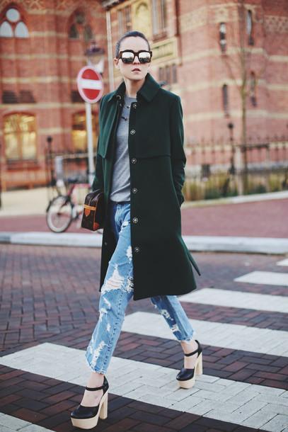 style scrapbook jeans sweater shoes bag sunglasses coat