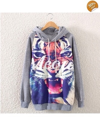 top hoodie cute shirt rawr tiger trippy print strings style