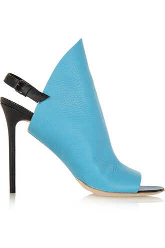 mules leather blue sky blue shoes