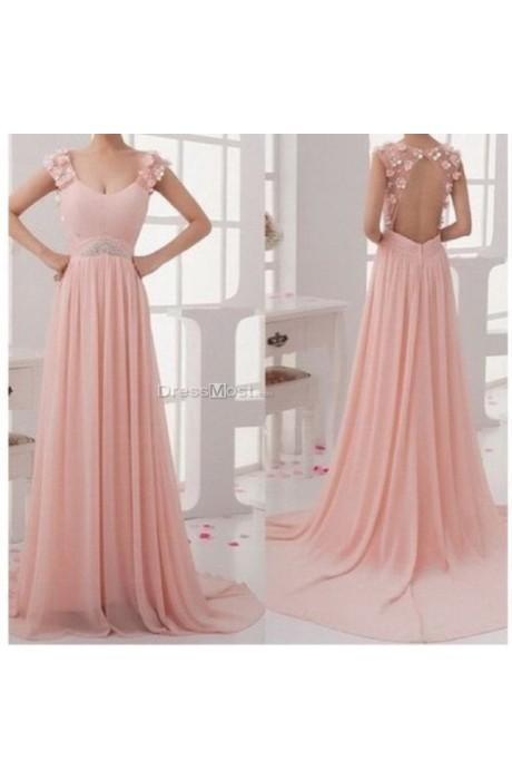 Line pink prom dress