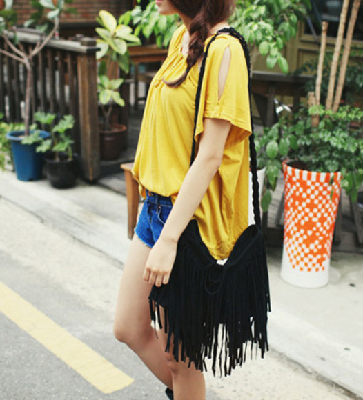 braided bag vintage hippie boho fringe gypsy velvet cute handbag purse shoulder bag fringed bag yellow