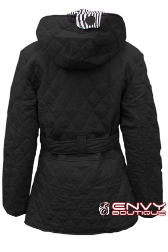 NEW WOMENS LADIES QUILTED PADDED BUTTON HOODED WINTER BELTED JACKET COAT 8-14 | Amazing Shoes UK