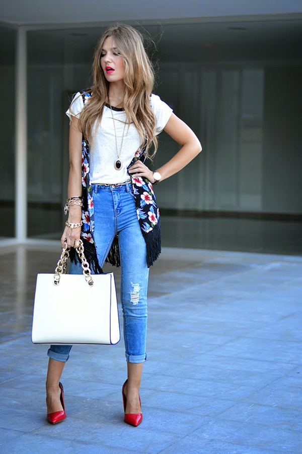 mi aventura con la moda jeans t-shirt bag jewels shoes make-up