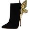 Black suedette stud butterfly embellished heeled ankle boots