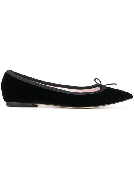 Repetto women leather cotton black silk velvet shoes