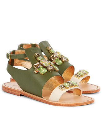 sandals flat sandals leather green print