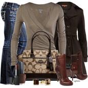 shoes,beige,dark beige,jeans,pants,shirt,wrap,coat,jacket,heels,boots,purse,bag,make-up,earrings,coach,brown,chestnut
