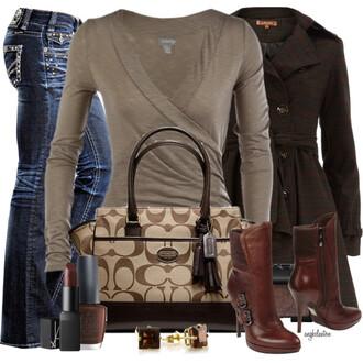 shoes beige dark beige jeans pants shirt wrap coat jacket heels boots purse bag make-up earrings coach brown chestnut