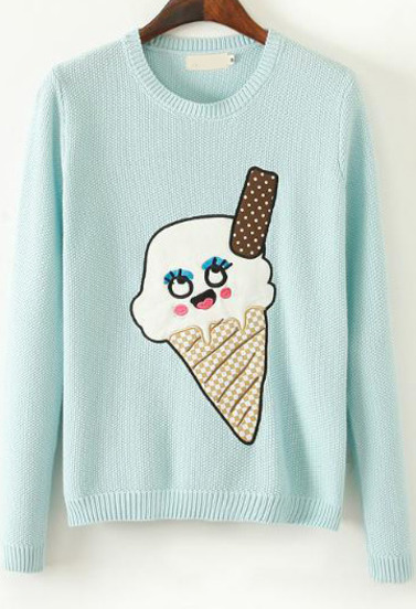 Mint Green Long Sleeve Ice Cream Print Sweater - Sheinside.com