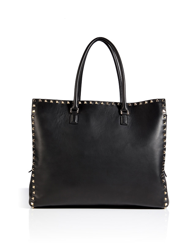 Leather rockstud tote in black from valentino