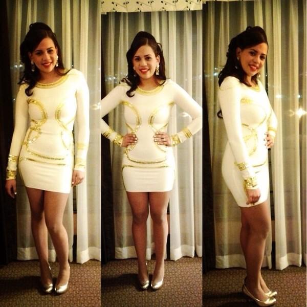 dress white and gold dress