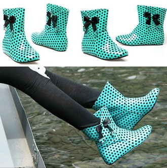 shoes rain boots cute style fashion polka dots wellies mint