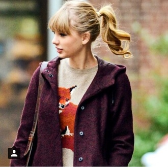 sweater taylor swift fox fall outfits hipster ponytail