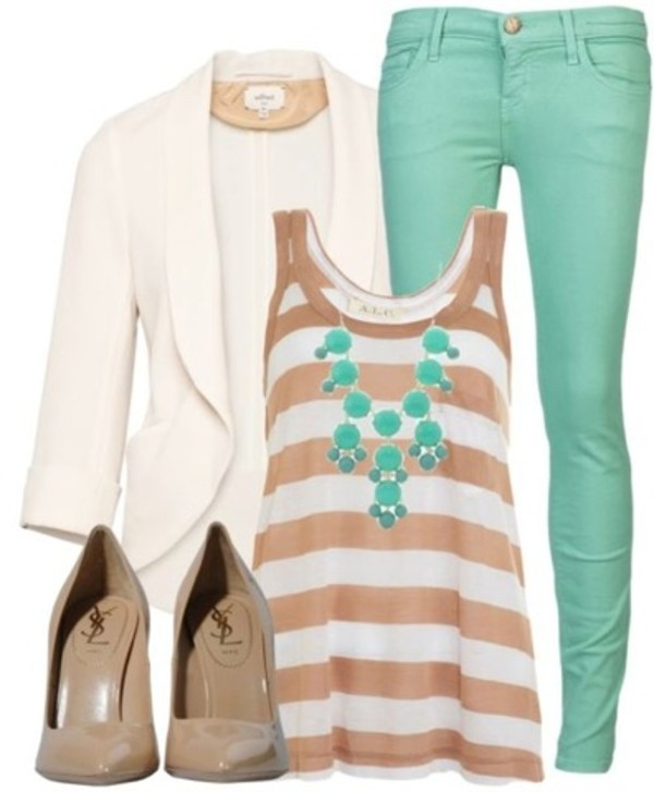 jeans blazer tank top pastel statement necklace high heels blouse jacket pants striped shirt aqua jewelry cream high heels white shirt green top turqoise hat shoes jewels cardigan stripped shirt