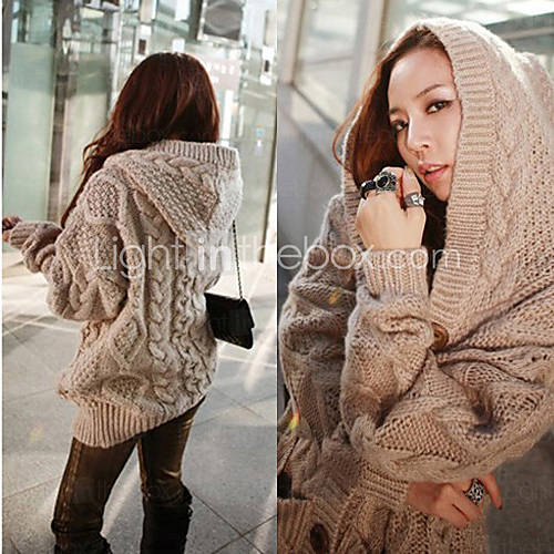[usd $ 34.50] women's cable knit hooded cardigan