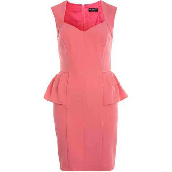 v-neck dress coral peplum