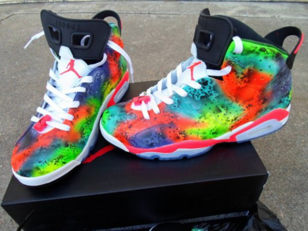 on sale 949de 4fabd jordans high top sneakers multicolor jordans galaxy shoes rainbow bikini  shoes jordan retro 6