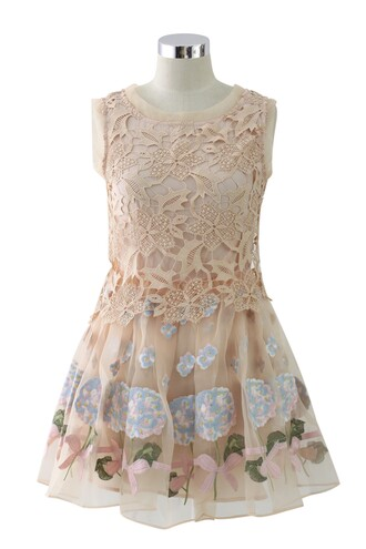 chicwish hydrangea embroidered organza dress nude pink