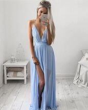 dress,blue dress,sexy dress,prom dress,party dress,date outfit,spring outfits,summer outfits,long blue dress,long dress,boho dress,vintage blue dress,deep v dress,zefinka,going out dresses,going out outfits,tumblr outfit summer,tumblr girl fashion,fashion,fashion blogger,style,stylish dresses,Stylish outfit,pastel dress,pastel blue dress,side split dress