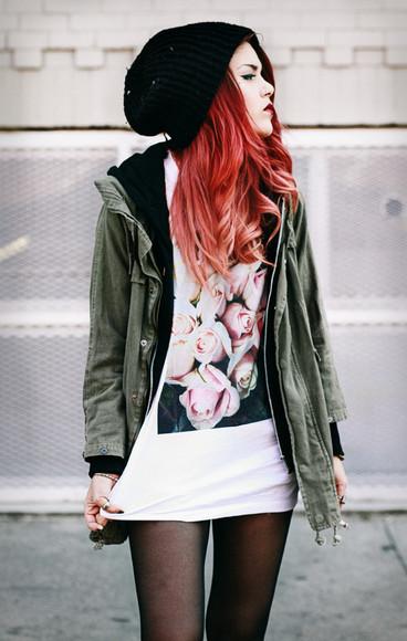 t-shirt printed tee hipster shirt roses jacket