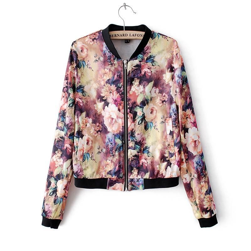Women Stand Collar Long Sleeve Zipper Floral Bomber Printed Jacket ...