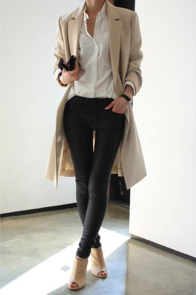 jeans coat shoes blouse jacket pants beige coat trendcoat nude trench coat winter coat