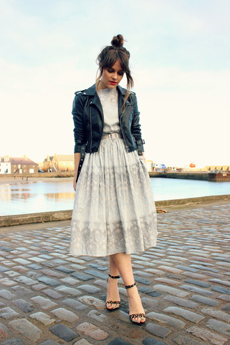 the little magpie date outfit shoes midi dress belted dress bun prom dress vintage hipster old school leather jacket leopard print high heels rock