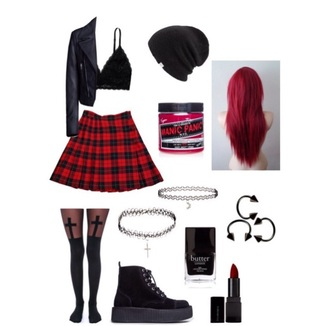 skirt grunge plaid skirt checkered skirt red and black tights beanie creepers red and black plaid black creepers shirt home accessory dress top shoes