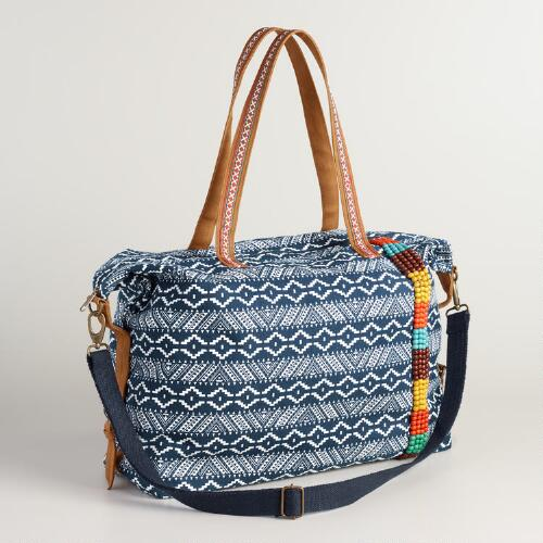 Blue Tribal Weekender Bag with Beads