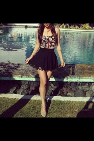dress black dress lace skirt tank top little black dress printed dress patterned dress roses floral
