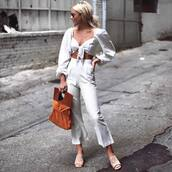 pants,tumblr,co ord,matching set,crop tops,long sleeves,puffed sleeves,white pants,bag,sandals,mules,sunglasses